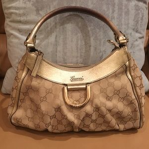 💯Auth GUCCI Canvas/Leather Shoulder Bag